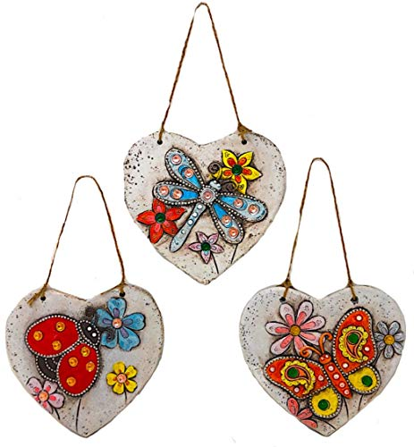 Wall Hanging Heart Shape Dragonfly Ladybug Butterfly Colorful Garden Fence Yard Stone Sculptures for Indoor Outdoor Set of 3 (8