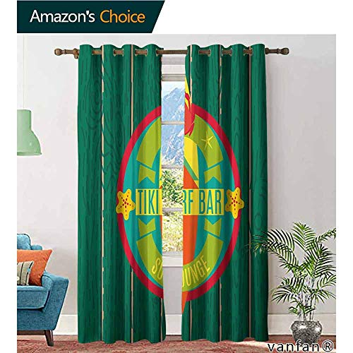 LQQBSTORAGE Tiki Bar,Curtains and Valances,Tiki Surf Bar Sun Lounge Holiday Vacation Theme Surfboard Crab Starfishes Print,Light Blocking Drapes with Liner,Multicolor (Regent Lounge)