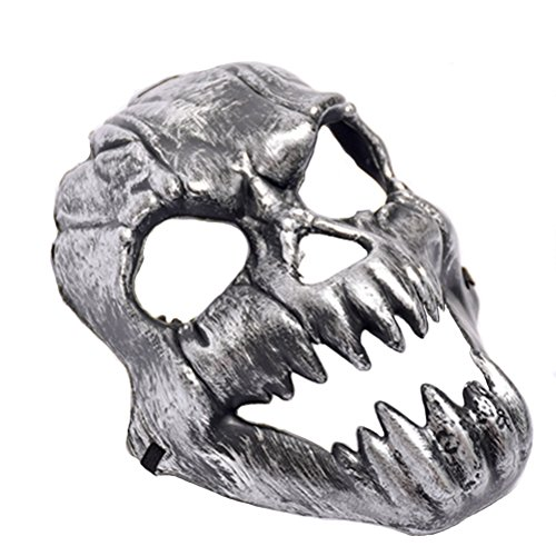 TINKSKY Halloween Costumes Mask Scary Creepy Horrible Ghost Face Mask Costume Prop for Masquerade Make-up Party (Silver) -