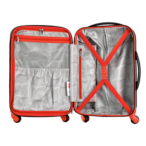Olympia Apache 3pc Hardcase Spinner Luggage Set, Black/Red by Olympia (Image #5)