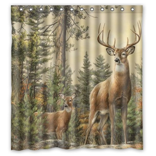 A.M Aileen Custom Art Deer Back In The Forest Shower Curtain Bath Decorations Bathroom Decor Sets with Hooks Gifts for Men and Women in Art Print Polyester Fabric Hooks Included (Custom Deer)