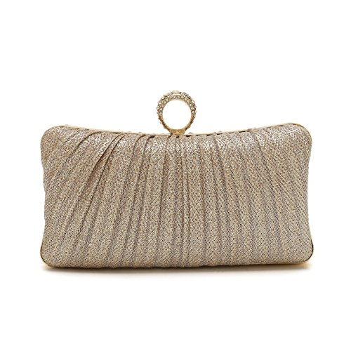 (ChilMo Pleated Crystal-Studded Satin Handbag Evening Clutch Wedding Bridal Bags With Chain,Champagne)