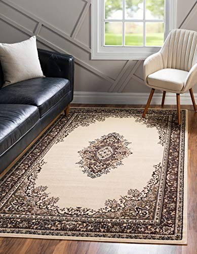 Unique Loom Reza Collection Classic Traditional Ivory Area Rug 5 0 x 8 0