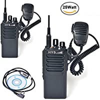 HYS Ham Two way radio UHF 400-480MHZ Hight Power 25W Amateur Handheld Transceiver 2-way radio with Speaker Mic (2 Packs Black)