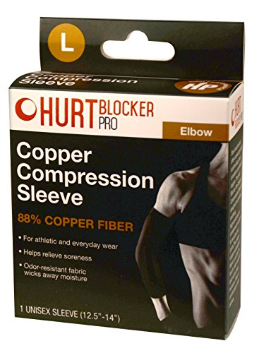 Hurt Blocker Pro Copper Compression Sleeve for Elbow- 88% Copper Fiber. (L)