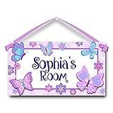 Butterflies in Purple Personalised Kids Door Sign