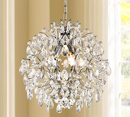 Modern Pendant Chandelier Crystal Raindrop Lighting Ceiling Light Fixture Lamp for Dining Room Bathroom Bedroom Livingroom entryway 3 E12 Bulbs Required D16 in x H18 in