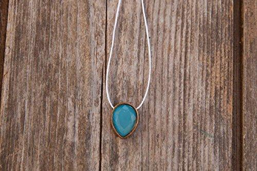 Gold pendant necklace, Minimal necklace, Tiny wire Necklace, Simple Pendant Necklace, Wire necklace, Pendant necklace, Thread (Maya Turquoise Necklace)