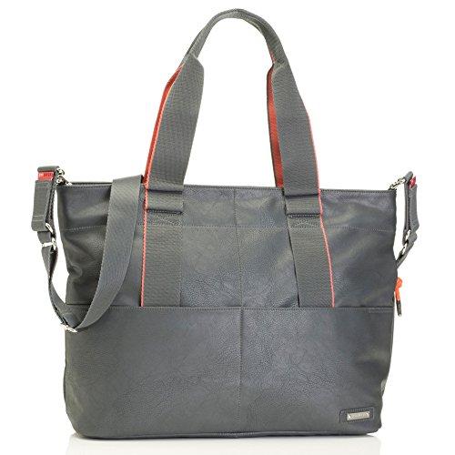Storksak Eden Vegan Leather Shoulder Bag Diaper Bag, Grey