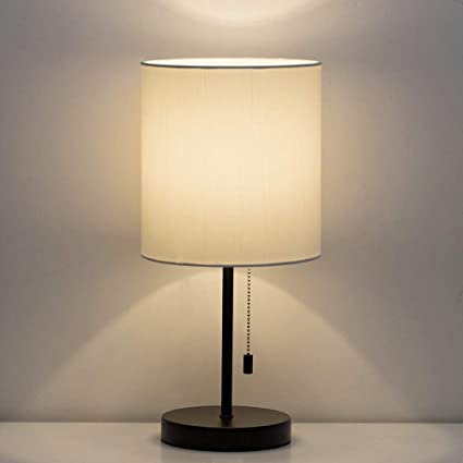HAITRAL Table Lamp - Modern Bedside Desk Lamp with Pull Chain Fabric ...