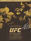 ufc fight programs - Johny Hendricks Signed UFC 167 Fight Event Program BAS COA vs Georges St-Pierre - Beckett Authentication