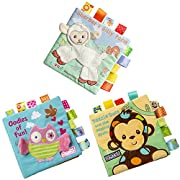 Baby Development Cloth Books, Scofieldly 3PC Non-toxic Soft Fabric Baby Cloth Books Early Education Toys Activity Crinkle Cloth Book for Toddler, Infants and Kids - Perfect for Baby Shower