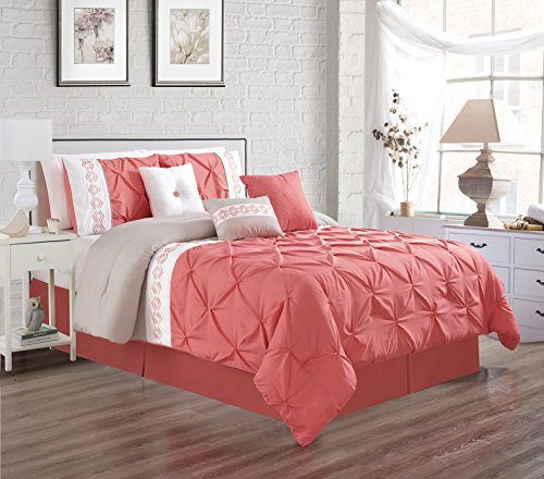 7 Pieces QUEEN size Coral Pink / White / Grey Double-Needle Stitch Pinch Pleat All-Season Bedding-Goose Down Alternative Embroidered Comforter - Coral Grey