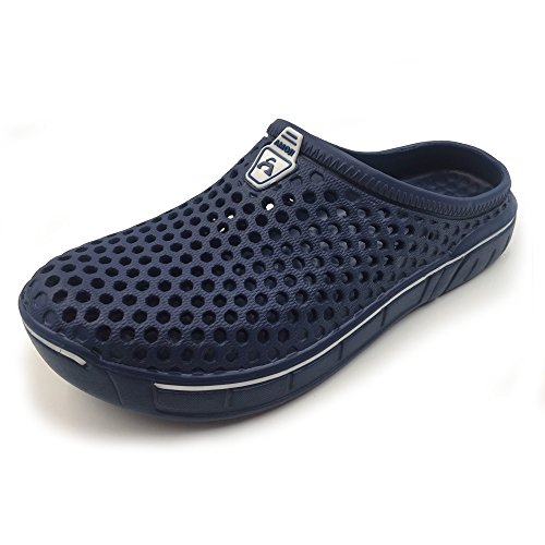 Amoji Unisex Garden Clogs Shoes Sandals House Slippers Room Shoes Indoor Outdoor Shower Shoes Sport Quick Dry Home Summer Breathable Light Walking Women Men Ladies Navy 8.5US W/7.5US M