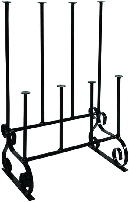 Wellington Boot Rack / Walking Boot Stand - Black - Metal - Indoor and outdoor - Holds four pairs of Wellies, Walking Boots or Shoes - The Ideal Welly, Boot or Shoe Storage Solution - Wellington Boot Stand
