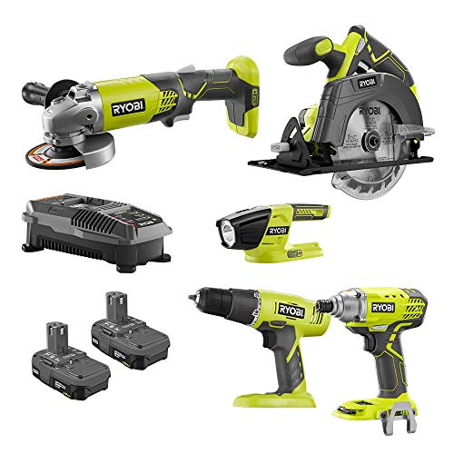 Ryobi 18-Volt ONE+ 5 Tool-Combo Kit with Drill, Circular Saw, Grinder, Impact Driver, Light, (2) 1.5 Ah Batteries, and Charger ()