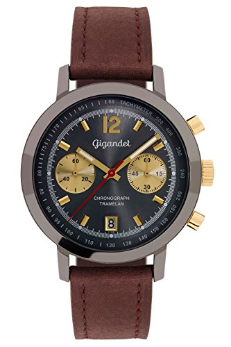 Gigandet Men's Quartz Watch Tramelan Chronograph Vintage Design Analog Leather Strap Grey Gold G10-010