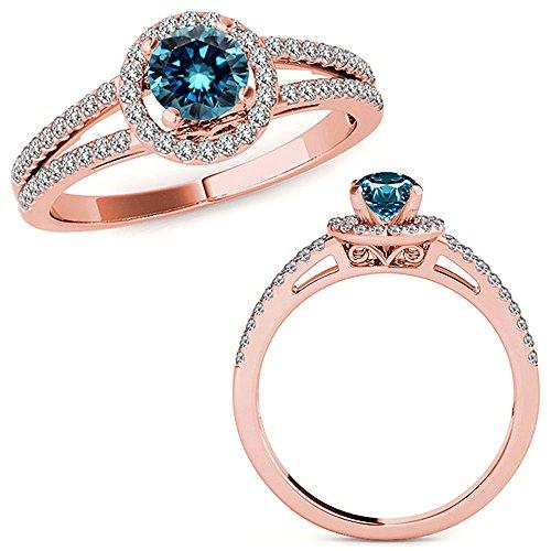 1.07 Carat Blue Diamond Love Designer Beautiful Halo Anniversary Promise Women Band Ring 14K Rose Gold ()