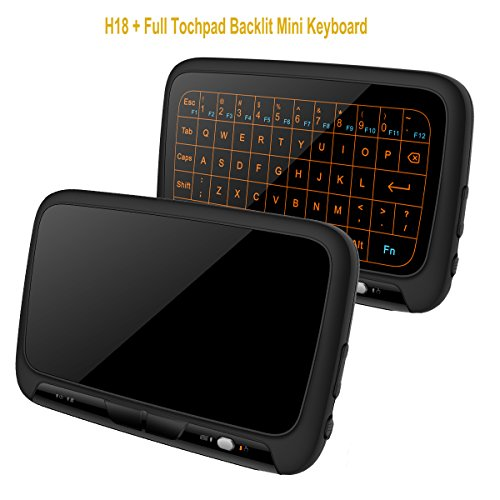 SZILBZ 2.4Ghz H18+ Backlit Mini Wireless Keyboard,Full Screen No alphabet Mouse Touchpad Combo,Rechargeable Remote Control for PC,Android Tv Box,HTPC.IPTV,PS3,Pad, (H18+)