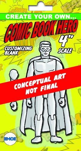 "Spherewerx Create Your Own Comic Book Hero Standard Male Customizing Blank 4"" Action Figure"