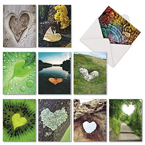 Heartscapes - 10 All Occasion Blank Note Cards with Envelope (4 x 5.12 Inch) - Beautiful Heart Shaped Landscapes, Nature, Scenery Greeting Notecards - Boxed All-Occasion Stationery ()