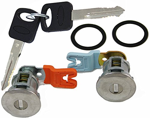 APDTY EM69973 Door Lock Cylinder Pair With New Keys & Gaskets For 1995-2011 Ford Trucks (Except Smart Key or Transponder Key Models; Match Image To Your Vehicle To Verify)