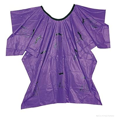 41432 - Capa de peluquería, 110 x 140 cm, con práctico cierre de velcro, impermeable, diseño con utensilios, color violeta