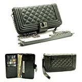 ZZYBIA® Crossbody / Wristlet Clutch 2 way Coin Zip Mobile Case Wallet Card Holder with Detechable Long Chain For Apple iPhone 6 Plus / Universal fit most smartphones up to 6.5