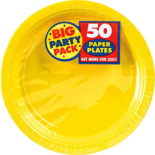 Big Party Pack Paper Plates | 9'' | Sunshine Yellow | Party Supply | 300 ct.