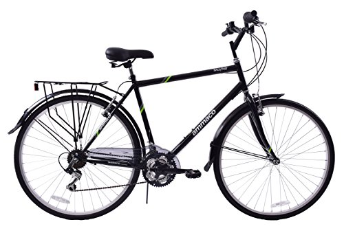 Ammaco Mayfair 700c Wheel Mens Hybrid Bike 23' Frame 18 Speed Luggage Rack...