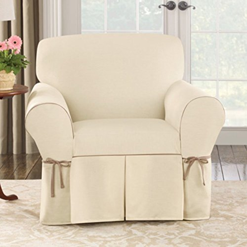 Sure Fit Cotton Duck 1-Piece - Chair Slipcover - Natural/Cocoa (SF40801)