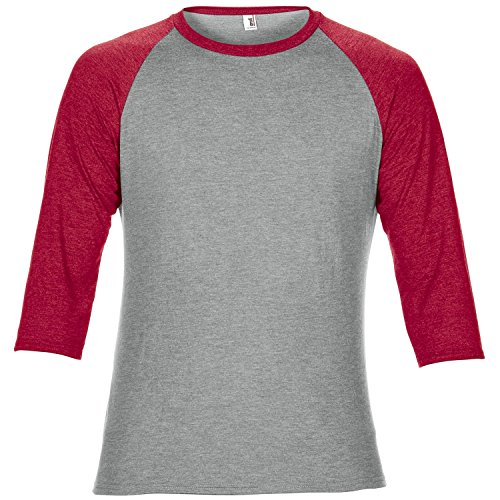 Anvil Unisex Two Tone Tri-Blend 3/4 Sleeve Raglan T-Shirt (2XL) (Heather Gray/Heather Red)