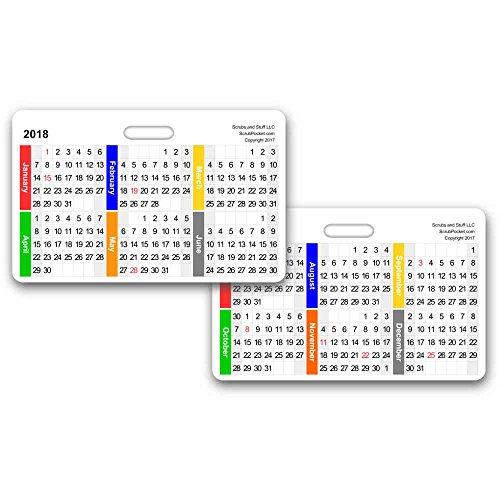 2018 Monthly Calendar Badge Card Horizontal  Pack Of 5