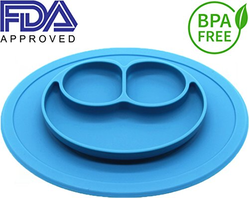Silicone Kids Placemat, Strong Table Suction, Fits Most Highchair Trays, Dishwasher, Microwave and Oven Safe, FDA Approved BPA Free