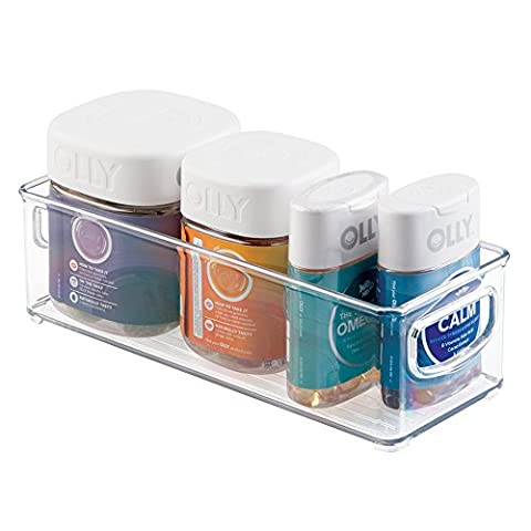 mDesign Storage Organizer Bin for Vitamins, Supplements, Health Supplies - Clear
