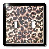 3dRose LLC lsp_30873_2 Black Frame Leopard Print Animal Prints - Double Toggle Switch