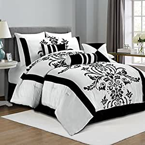 chezmoi collection 86 inchx88 inch 7 piece floral flocking comforter in inch set bed in a bag. Black Bedroom Furniture Sets. Home Design Ideas