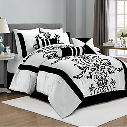 Chezmoi Collection 7 Piece White With Black Floral Flocking Comforter Set  Bed In A Bag For Queen Size Bedding, 90 By 92 Inch