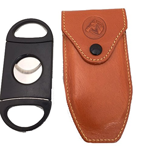 Cigar Cutter and Leather Case (Natural Brown)