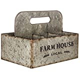 Adumly Vintage Style Rustic Galvanized Basket Farmhouse Antique Storage Organizer