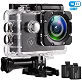 VICTORIALIU 1080P Waterproof Wifi Action Camera 2.0 Inch Display 140 Degrees Wide Angle Lens Helmet Cams Two 900mAh Batteries and Mounting Accessories Kit (BLAK 1080P)