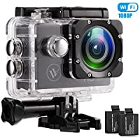 1080P Waterproof Wifi Action Camera 2.0 Inch Display 140 Degrees Wide Angle Lens Helmet Cams Two 900mAh Batteries and Mounting Accessories Kit (BLAK 1080P)