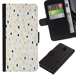 SAMSUNG Galaxy Note 3 III / N9000 / N9005 Modelo colorido cuero carpeta tirón caso cubierta piel Holster Funda protección - Dots Blue Kids Children Pattern Spots Grey