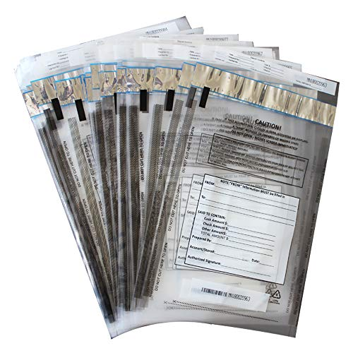 Bank Deposit Bag - ZMYBCPACK 100 Pack Clear FREEZFraud Deposit Bags, Tamper-Evident Bags, Security Bank Pocket, 9 x 12 Inches