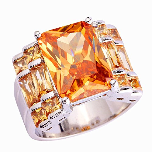 Psiroy 925 Sterling Silver Grace Womens Band Charms 10mm15mm Emerald Cut Morganite Cz Created Ring