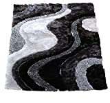 Cheap 8'x10' Gray Grey Silver Titanium Charcoal 3D Shag Shaggy Area Rug Carpet Striped Woven Braided Hand Knotted Feizy Accent Fluffy Fuzzy Modern Contemporary Medium Pile Shimmer Soft Plush – Signature 72