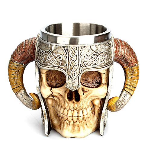 Viking Skull Mug, Valhalla Warrior Mug Tankard Stainless Steel Beer Mug with Double Handle Horn Gift Mug for Men and Women, 20oz/600mL for Men Father's Day Gifts -