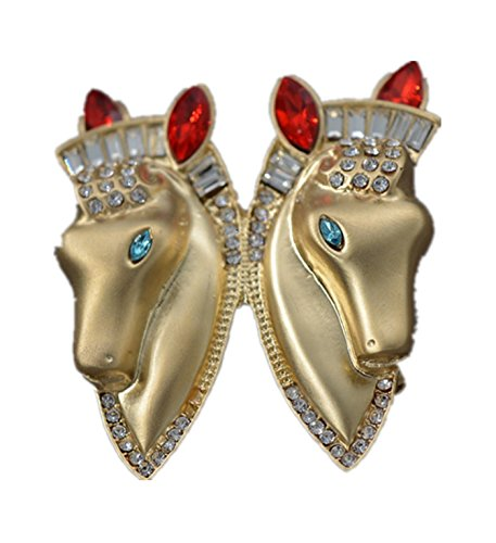 micrkrowen Double Horse Head Brooch