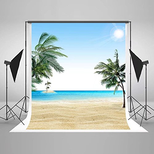Kate 5x7 ft Beach Photography Backdrops Sea Island Coconut Trees Summer Photo Backgrounds