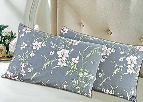 Tache 2 Piece Cotton Cherry Blossom Dusk Floral Grey Rustic Pillow Covers Pillowcase Set